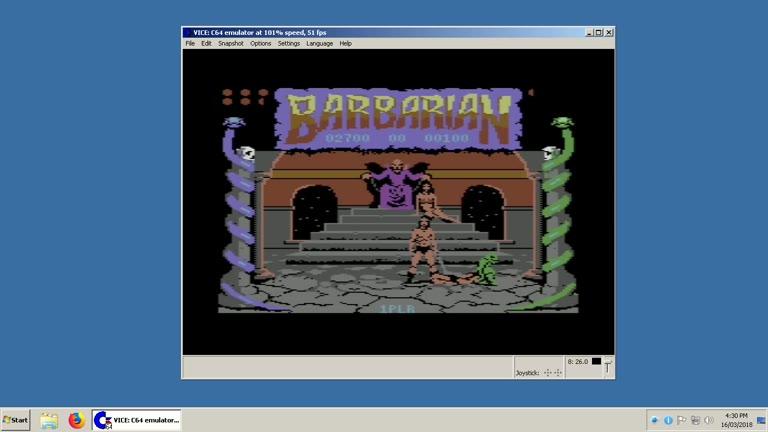 Commodore 64 - Barbarian the Ultimate Warrior - EMU - Points - - 21,400 - Clay Karczewski