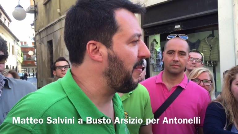 Video: Salvini a Busto per sostenere Antonelli e la Lega