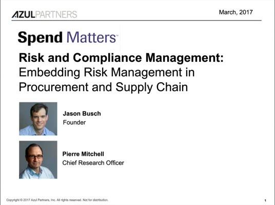 Risk & Compliance Management - Embedding Risk Management in Procurement and Supply Chain slide image