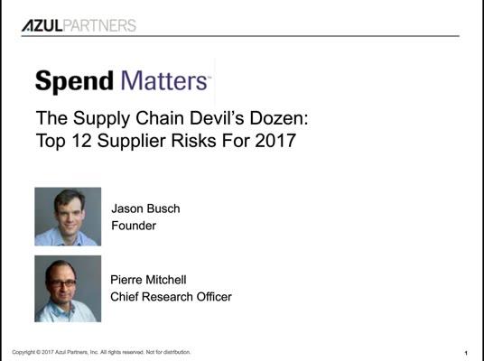 The Supply Chain Devil's Dozen: Top 12 Supplier Risks For 2017 slide image