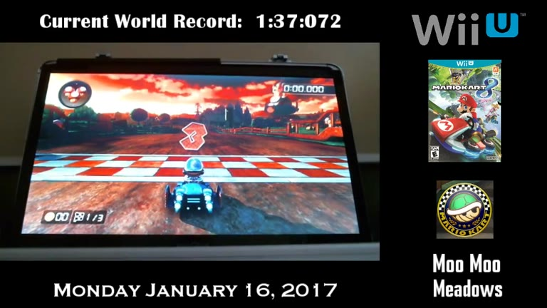 Nintendo Wii U - Mario Kart 8 - Time Trials - Retro - Moo Moo Meadows [Fastest Race] - 01:36.894 - Derek Ruble