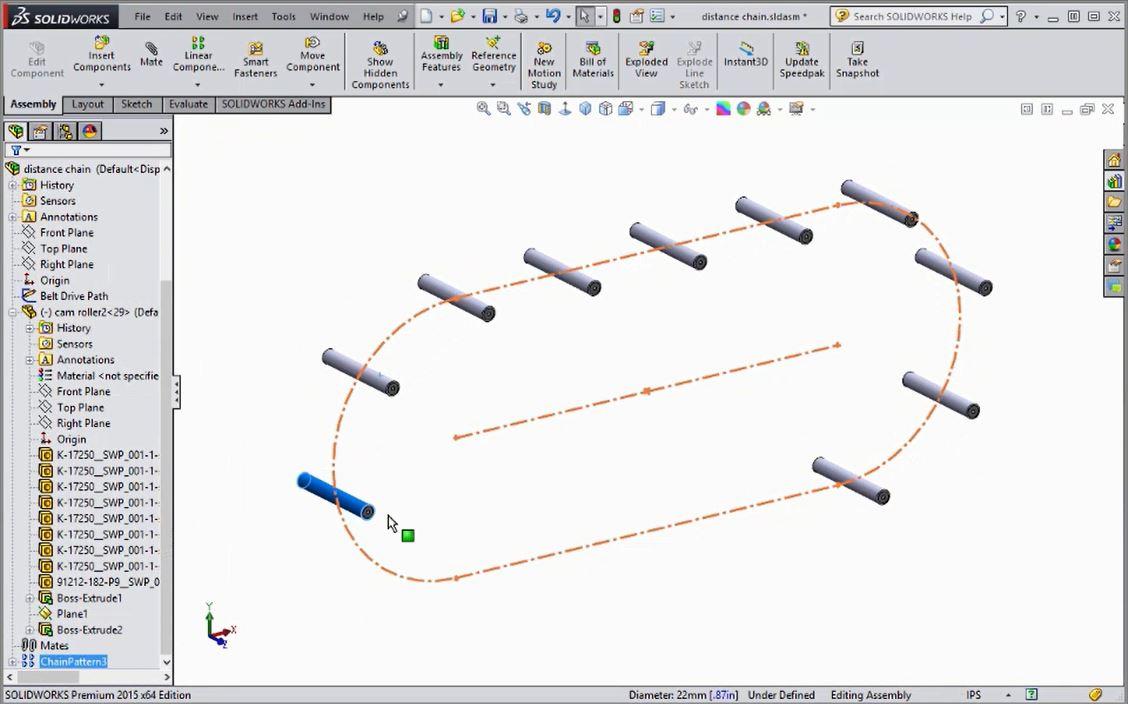 Creating Chain Patterns in SOLIDWORKS - CAD Tutorials