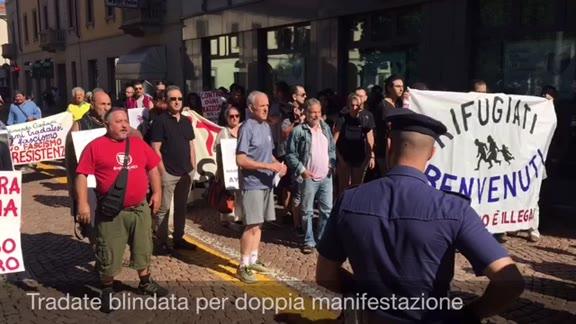 Video: Pro e contro i profughi, doppia manifestazione a Tradate