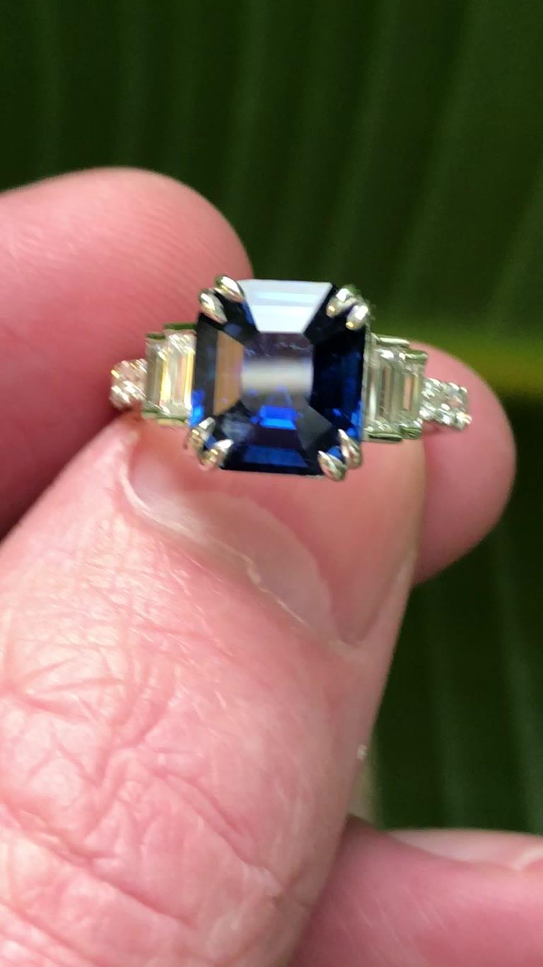4.29 ct Untreated Blue Asscher Cut Ceylon Sapphire & Platinum Ring
